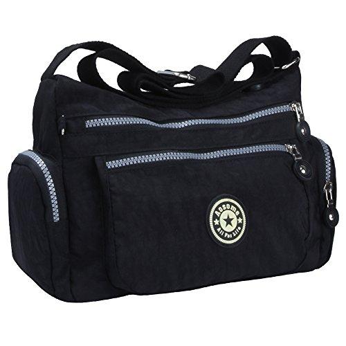 Women Tote Messenger Cross Body Nylon Handbag Bag Ladies Shoulder Bag Purse New (Black)