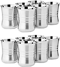 Floranso Stainless Steel Designer Glass 400 ml, Set of 6 Water Milk Tea Lassi Glass Tumbler