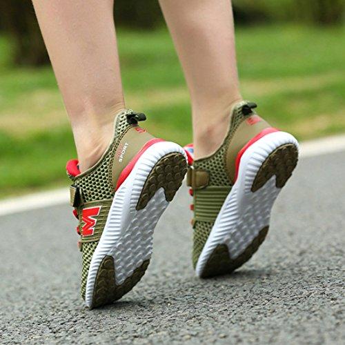 JTENGYAO Jungen Mädchen Laufschuhe Sportschuhe Netzschuhe Turnschuhe für Kinder Grün