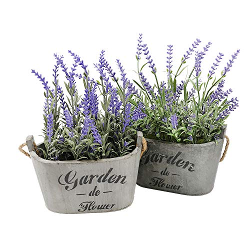 Lavendel Blumen Bulk (To Hearts 2 Purple Silk Floral Arrangements Kunstleder Lavendel Blume Pflanze Home Office Décor 2Pc Set)