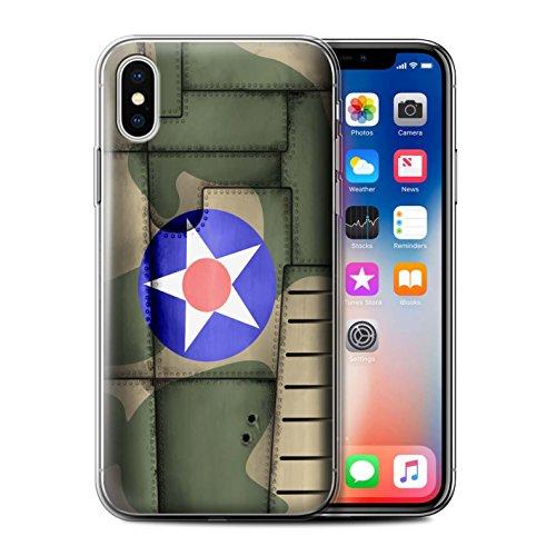 Stuff4 Gel TPU Hülle / Case für Apple iPhone X/10 / Amerika/Blau Muster / Kampfflugzeug Flügel Kollektion Amerika/Grün