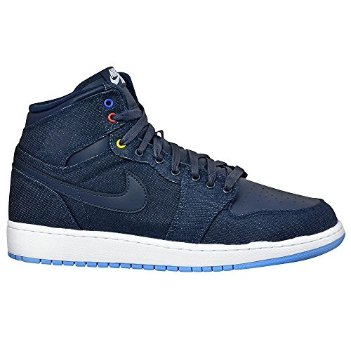 Jordan Gradeschool 1 Retro Haute Bg Obsidian / dk Powder Blue / jeu royal 682782-415 OBSIDIAN/DK POWDER BLUE/GAME ROYAL/W