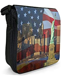 Statue Of Liberty With USA Stars & Stripes Flag Small Black Canvas Shoulder Bag / Handbag