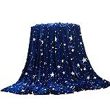 Doublehero Flanell Decke Super weiche Warme Sterne Pattern Mikrofaser Flanell Flauschige Wohndecke/Reisedecke/Schmusedecke Decke (L(120 * 200cm))