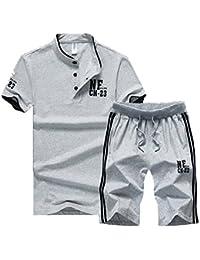 Huateng Conjunto Casual para Hombre, Deporte 2 Piezas Camiseta de Camuflaje Gradual + Pantalón Corto