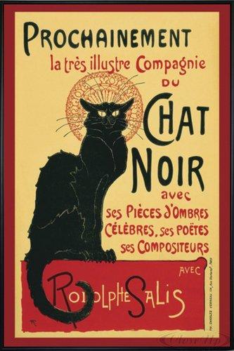 Close Up Le Chat Noir Poster (93x62 cm) gerahmt in: Rahmen schwarz (Noir Chat Poster La)