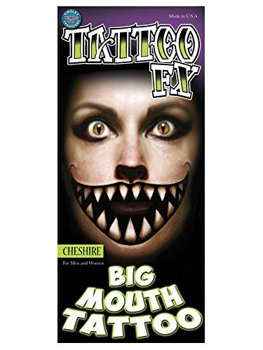 Tinsley Transfers Grinsender Katzen-Mund Mega-Tattoo Halloween schwarz-beige 20,3x7,6cm - Cheshire Katze Gesicht Kostüm