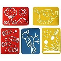 Doitsa: 5 plantillas de dibujo para niños, en PVC; plantillas caladas. Material de pintura para niños