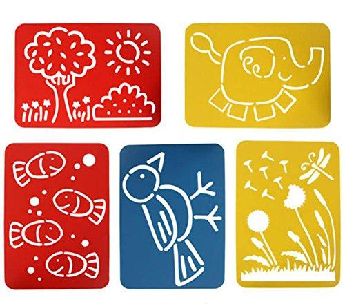 Doitsa 5pcs Modèle de dessin bricolage de PP en plastique pour enfants Modèle de dessin ajouré Accessoires de peinture pour enfants