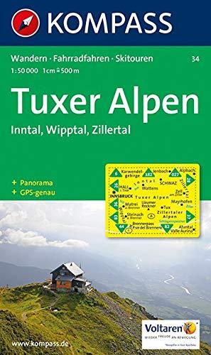 Carta escursionistica e stradale n. 34. Tuxer Alpen, Inntal, Wipptal. Adatto a GPS. Digital map. DVD-ROM: Wanderkarte mit Radrouten, Skitouren und Panorama. GPS-genau. 1:50000