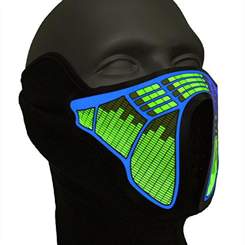Ucult LED-Rave-Maske Soundaktiviert Leuchtmaske - Maske für Party, Halloween Fasching Karneval Raves Club