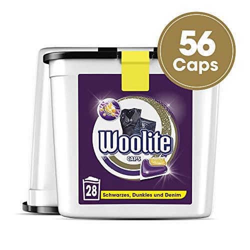 Woolite Caps Black - Pflegende Feinwaschmittel Caps für Schwarzes, Dunkles und Denim - Für 56 Waschladungen - 2er Pack (2 x 28 Caps)