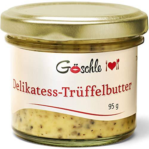 """Feinkost Trüffelbutter \""""Die Trüffelmanufaktur Göschle\"""" inklusive 15{9cb3a9f11a4d6d996cd87fd3d43527ee22088954c23931798d311cadd2a42ede} frische Trüffel für Risotto, Püree und Pasta. 95 g"""
