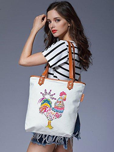 S.CHU Women's Aztec Cock Canvas Leather Tote Handbag Ladies Shoulder Bag Weiß