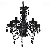 vidaXL NEGRO lámpara de techo de cristal 5 bombillas Araña Luz De Techo en Suspensión