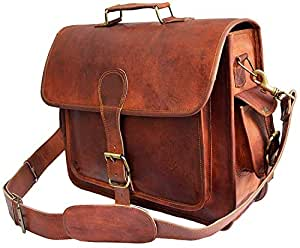4ae82879e1 Image Unavailable. Image not available for. Colour  Mens Genuine Leather  messenger bag for 15.6 quot  laptop shoulder bag briefcase ...