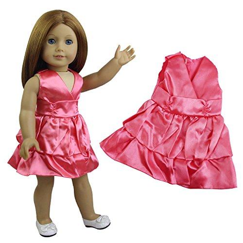 ZITA ELEMENT 18 Zoll Puppe Kleid Kostüme Outfit Fit für American 18 Zoll Girl Doll 45-46 cm und Andere 18 Zoll Puppe Kleidung Ausschnitt Etuikleider Two Layers Girl - Kelly Schuhe Kostüm