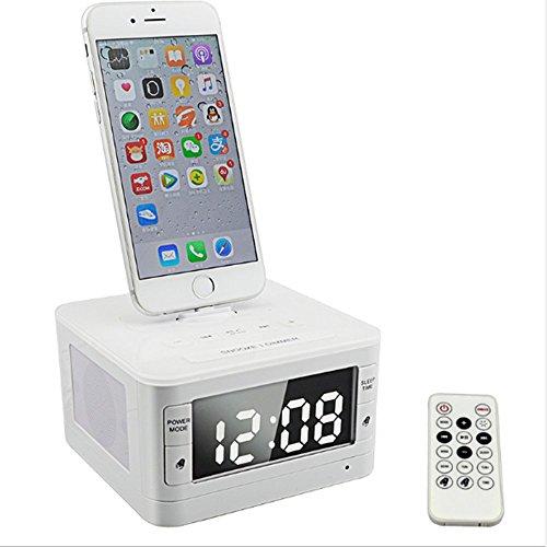 Preisvergleich Produktbild NSOP T7 Apple iPhone Wireless Bluetooth Lautsprecher NFC System Wecker FM Radio & Ladestation Für Iphone5 / 6 / 7Plus Handy,  iPad Mini Etc, White