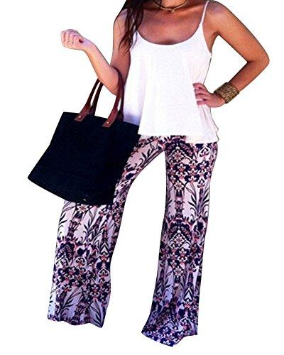 Moollyfox Donne Alla Moda Fiore Colorato Stampato Pantaloni Da Donna Fantasia Gambe Larghi Palazzo Come Immagine