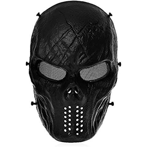 Tomount Táctico Máscaras Protecciones Facial Para Airsoft Paintball CS Negro