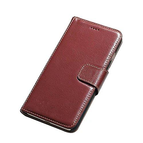 Luxus Echtes Leder Tasche Brieftasche Horizontale Flip Folio Stand Case Cover mit magnetischen Buckle & Card Slots für IPhone 7 Plus ( Color : Black ) Wine
