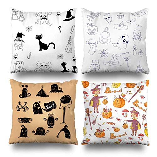 VVIANS Set of 4 Decorativepillows Case Throw Pillows Covers for Couch/Bed 18 x 18 inch,Scary Halloween Doodle White Home Sofa Cushion Cover Pillowcase Gift Bed Living Home