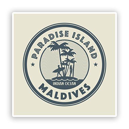 Preisvergleich Produktbild 2 x Paradise Island Malediven Vinyl Aufkleber Reise Gepäck 7460 - 10cm / 100mm Wide