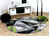 Designer Teppich Brilliant Grau Grün Magic Rund in 3 Größen