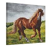 Bilderdepot24 Impression d'art Reproduction - Cheval Prairie - Image sur Toile 40 x 40 cm Monobloc - Images comme Une Impression de Toile - la Faune - Cheval Brun sur Un pré
