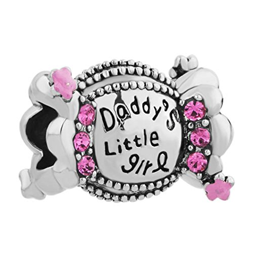 """Uniqueen ciondolo per bracciale con scritta """"daddy's little girl"""", adatto ai bracciali con ciondoli europei, base metal, cod. uq_dpc_lf016"""