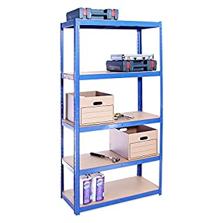 Garage Shelving Units: 180cm x 90cm x 40cm | Heavy Duty Racking Shelves for Storage - 1 Bay, Blue 5 Tier (175KG Per Shelf), 875KG Capacity | For Workshop, Shed, Office | 5 Year Warranty