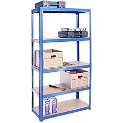 G-Rack Étagère de Rangement pour Garage 5étagères (175kg par étagère) Capacité de 875kg 180x 90 x 40cm