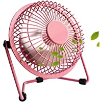 """PEMOTech USB Fan 4"""" Quiet Mini Plastic Portable Desktop USB Fan Cooler with ON/OFF Switch For Laptop, NetBook, Computer and MacBook - PINK"""