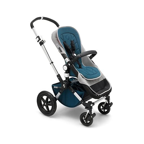 Bugaboo Cameleon³ Elements Pushchair (complete) Bugaboo Suitable from birth to a max. weight of 17kg 3 seat positions Padded adjustable 5 point harness Black leather-look handlebar and rotating carry handle Lightweight aluminium chassis Soft, herringbone fabric on bassinet, seat and sun canopy Gradient colour effect on the bassinet and back of seat Includes a matching, reversible seat inlay with leaf shape quilting 3