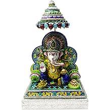 Varanasi Craft Gulabi Meenakari Lord Ganesha Idol (10.16 cm x 6.6 cm x 13 cm, VC21)