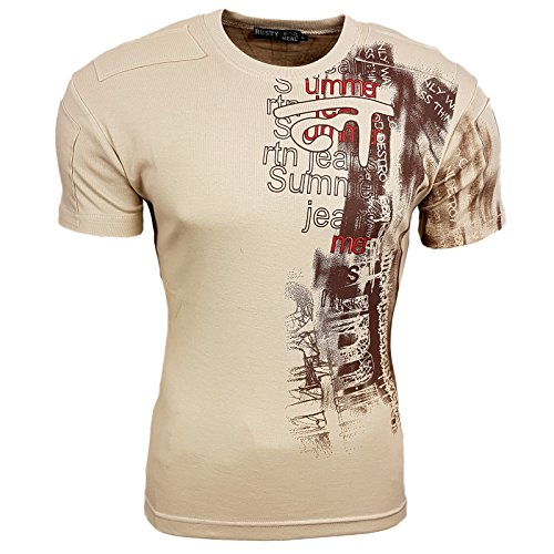 Rusty Neal Herren T-Shirt Kurzarm Rundhals Print Patch RN650 Braun