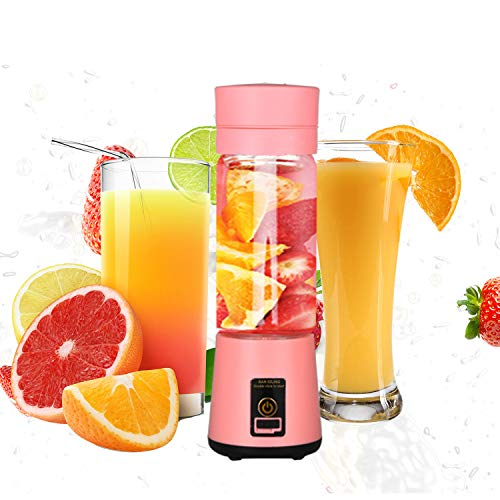 Licuadora Portátil, Mini Batidora de Vaso con 6 Cuchillas, 400ML Juicer Smoothie Maker USB Recargable...
