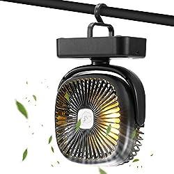 GEYUEYA Home 2-en-1 Ventilateur de Camping,Tente Lampe Lanterne,Crochet De Camping Lumière De Nuit pour la Maison, Camping, randonnée en Plein air de pêche