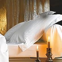 Damasco Juego de ropa de cama de diseño Divine Blanc de Blanc des Vosges (funda nórdica de 135x 200), 100% satén jacquard 120FD./cm², color: blanco, Weiß, Kissenbezug 80/80
