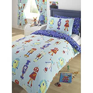 ensemble literie enfants lit double robots housse couette. Black Bedroom Furniture Sets. Home Design Ideas