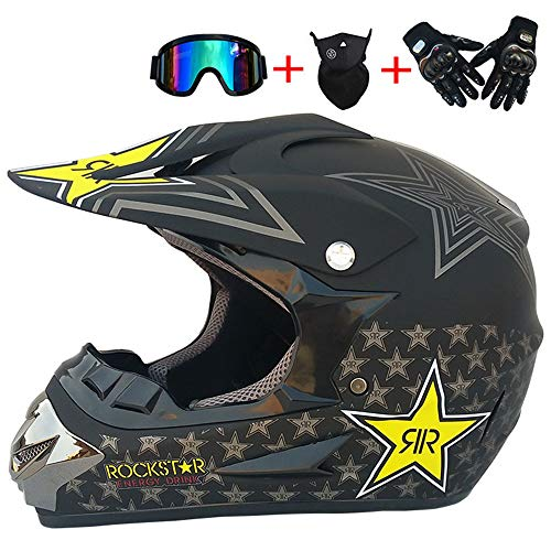 MRDEAR Motocross Helm, Adult Off Road Crosshelm Set mit Brille Handschuhe Maske, Unisex Motorradhelm Fullface Cross Helm Downhill Quad Enduro ATV Motorrad Schutzhelm für Herren Damen,S