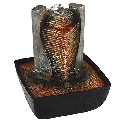 """Agora-Tec® Wasserspiel & Zimmerbrunnen """"AFIYA"""" mit LED Beleuchtung im Wassersprudel, sehr angenehmer leiser Wasserlauf 21 cm hoch von Agora-Tec bei Du und dein Garten"""