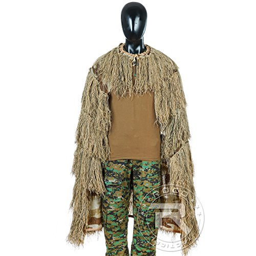 TTGTACTICAL Synthetik Ghillie Poncho Tactical Sniper Ghillie Cape, beige