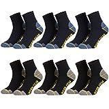 Piarini 6 Paar Herren Arbeitssocken Funktionssocken kurz | verstärkte Ferse und Spitze | 3xschwarz-3xblau 47-50