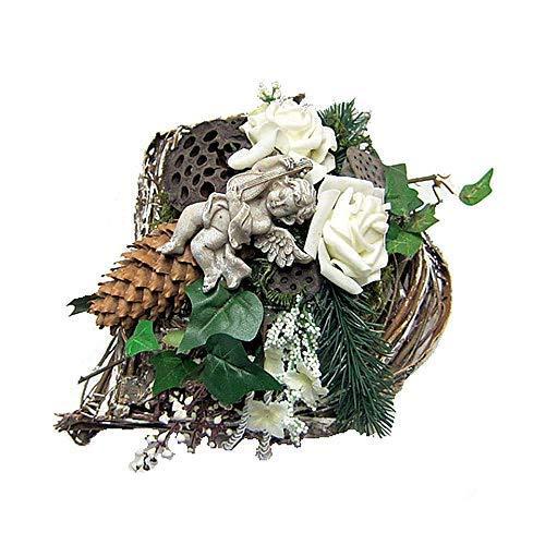 Small-Preis Grabgesteck – Grabschmuck – Grabaufleger Herz mit Rose und Engel 801