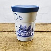 Ahoi Marie Coffee To Go Becher mit Trinkdeckel 0,35 l aus Porzellan/Motiv Segelschiffe/Modell Kahla cupit mit Magic Grip