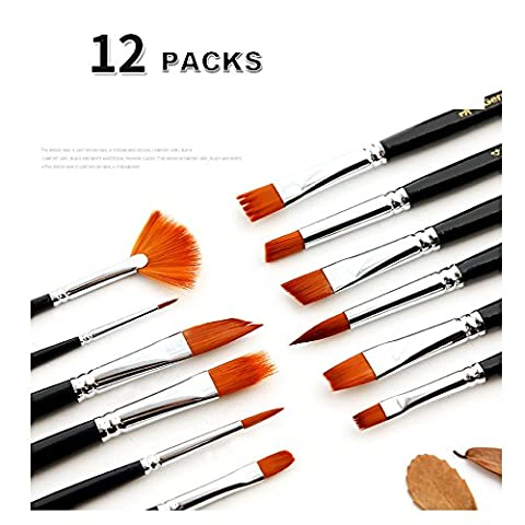 12 Brushes set: Diverse variety of bristle shapes and size.Includes: FLAT, BRIGHT, KNIFE ,CAKE SHAPE, Cylindrical, SKEWED PEAK, ROUND, ANGLED, SCRIPT, FILBERT, FAN, AND MOP. for Drawing & Painting Brush, Nylon Bristles, for Oil Painting, Watercolor, Acrylics, and Oil Painting for Professionals, Artists, Beginners, and Students.