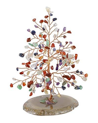 Jovivi feng shui - salvadanaio ornamentale a forma di albero della vita, con 7 pietre chakra, pietra di agata, pietra geode, portafortuna, decorazione per la casa, 7 chakra crystals