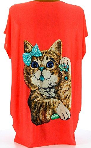 Charleselie94 - T-shirt tunika katzen große größe KORALLE MINOUCHE Koralle Koralle