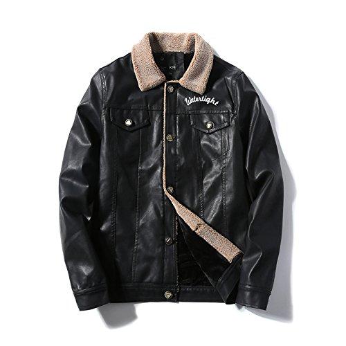 YCMDM agnelli rivestimento della pelliccia del cappotto di cuoio del motociclo uomini Autunno Inverno Nero L Xl M XXL XXXL S , black , s